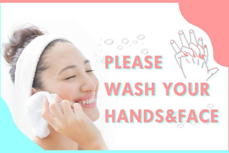 こまめな手洗い・洗顔でウイルス感染予防を!